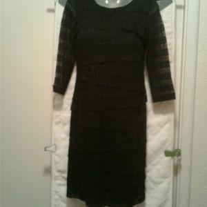 Chico's black lace ruffle teir dress sz.0/4